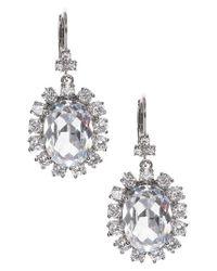 Marchesa - Metallic Cluster Crystal Drop Earrings - Lyst
