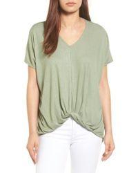 Bobeau | Green Twist Front V-neck Tee | Lyst