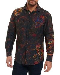 Robert Graham Black Mystical Garden Print Linen Sport Shirt for men