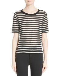 T By Alexander Wang - Black Striped Jersey T-shirt - Lyst