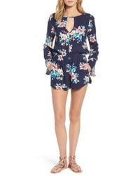 Mimi Chica   Blue Floral Bell Sleeve Romper   Lyst