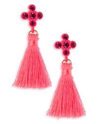 TOPSHOP | Pink Cross Tassel Drop Earrings | Lyst