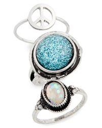 TOPSHOP Metallic Set Of 3 Peace & Glitter Rings