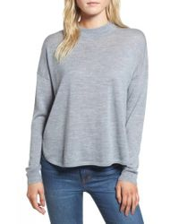 Madewell | Blue Mock Neck Boxy Pullover | Lyst