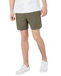 Topman - Green Pinstripe Drawstring Shorts for Men - Lyst