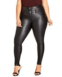 City Chic - Black Skylar Coated Corset Super Stretch Skinny Jeans - Lyst