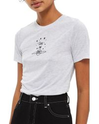 TOPSHOP | Gray Give Me Space Tee | Lyst