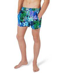 Topman - Blue Glacier Block Swim Trunks for Men - Lyst