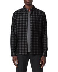 AllSaints Black Pinehurst Plaid Button-up Shirt for men