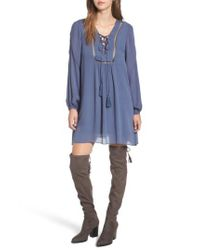 LOST AND WANDER - Blue Lost + Wander Julia Lace-up Swing Dress - Lyst