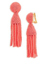 Oscar de la Renta - Red 'classic Short' Tassel Drop Earrings - Lyst