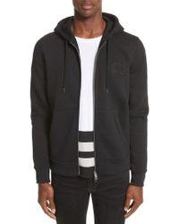 Burberry Black Fentford Zip Fleece Hoodie for men