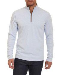 Robert Graham   Blue 'elia' Regular Fit Quarter Zip Pullover for Men   Lyst