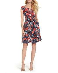 Adrianna Papell | Blue Linenette Fit & Flare Dress | Lyst