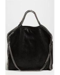 Stella McCartney | Black 'falabella - Shaggy Deer' Faux Leather Foldover Tote | Lyst