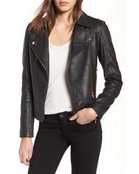Ted Baker Black Lizia Leather Biker Jacket
