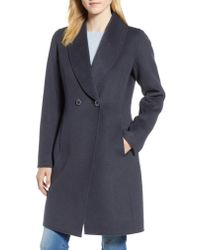 Tahari - Gray Caleigh Fitted Wool Blend Coat - Lyst