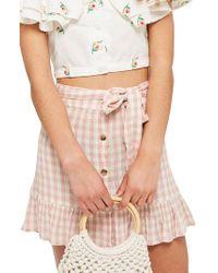 TOPSHOP - Pink Rose Gingham Miniskirt - Lyst