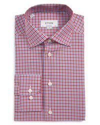 Eton of Sweden - Red Contemporary Fit Check Dress Shirt for Men - Lyst