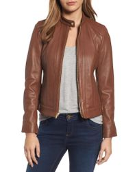 Cole Haan - Brown Leather Moto Jacket - Lyst
