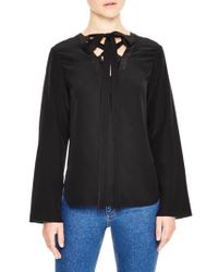 Sandro | Black Lace-up Tie Silk Top | Lyst