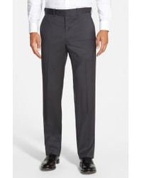 JB Britches Gray 'torino' Flat Front Wool Trousers for men