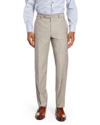 Zanella Gray Parker Flat Front Classic Fit Solid Wool & Cotton Trousers for men