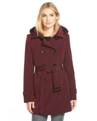 Calvin Klein Purple Double Breasted Trench Coat