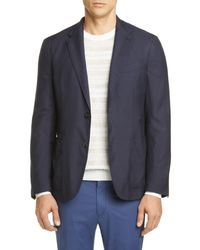 Ermenegildo Zegna Blue Informale Classic Fit Cashmere & Silk Sport Coat for men