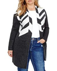 Addition Elle - Gray Patterned Sweater Coat - Lyst