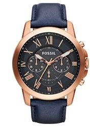 Fossil | Blue 'grant' Round Chronograph Leather Strap Watch | Lyst