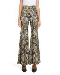 Chloé Black High-waist Metallic Damask-print Flared Pants