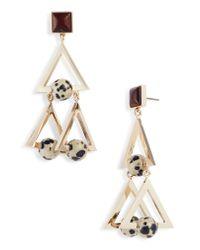 Tory Burch - Metallic Studded Stone Geo Statement Earrings - Lyst