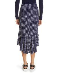 Michael Kors Blue Rumba Polka Dot Silk Skirt