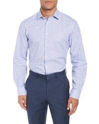 Calibrate - Blue Trim Fit Print Cotton & Linen Dress Shirt for Men - Lyst