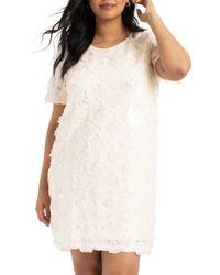 Eloquii White Sequin Shift Dress