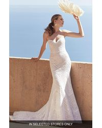 Watters Multicolor West Strapless Lace Trumpet Wedding Dress