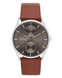 Skagen Gray 'holst' Multifunction Leather Strap Watch