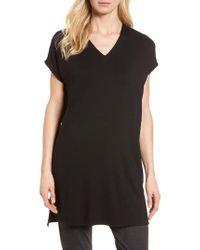 Eileen Fisher - Black Jersey Tunic - Lyst
