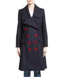 Burberry Blue Benington Wool Coat