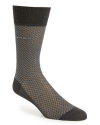 BOSS Gray Dean Diamond Dress Socks for men