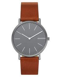 Skagen - Gray Signatur Leather Strap Watch for Men - Lyst