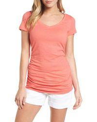 Caslon - Pink Caslon Shirred V-neck Tee - Lyst