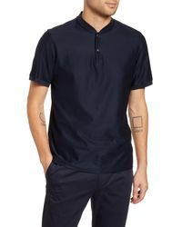 Theory Blue Ollie Snap Henley for men