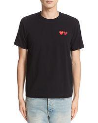 Comme des Garçons Black Comme Des Garçons Play Twin Hearts Slim Fit Jersey T-shirt for men