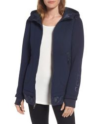 Guess | Blue Mixed Media Hooded Jacket | Lyst