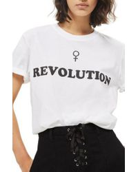 TOPSHOP - White Female Revolution Graphic Tee - Lyst