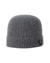 True Religion - Gray Ribbed Knit Watchcap for Men - Lyst