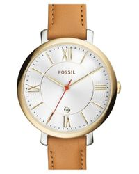 Fossil - Brown 'jacqueline' Round Leather Strap Watch - Lyst