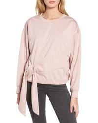 Trouvé - Pink Tie Front Sweatshirt - Lyst